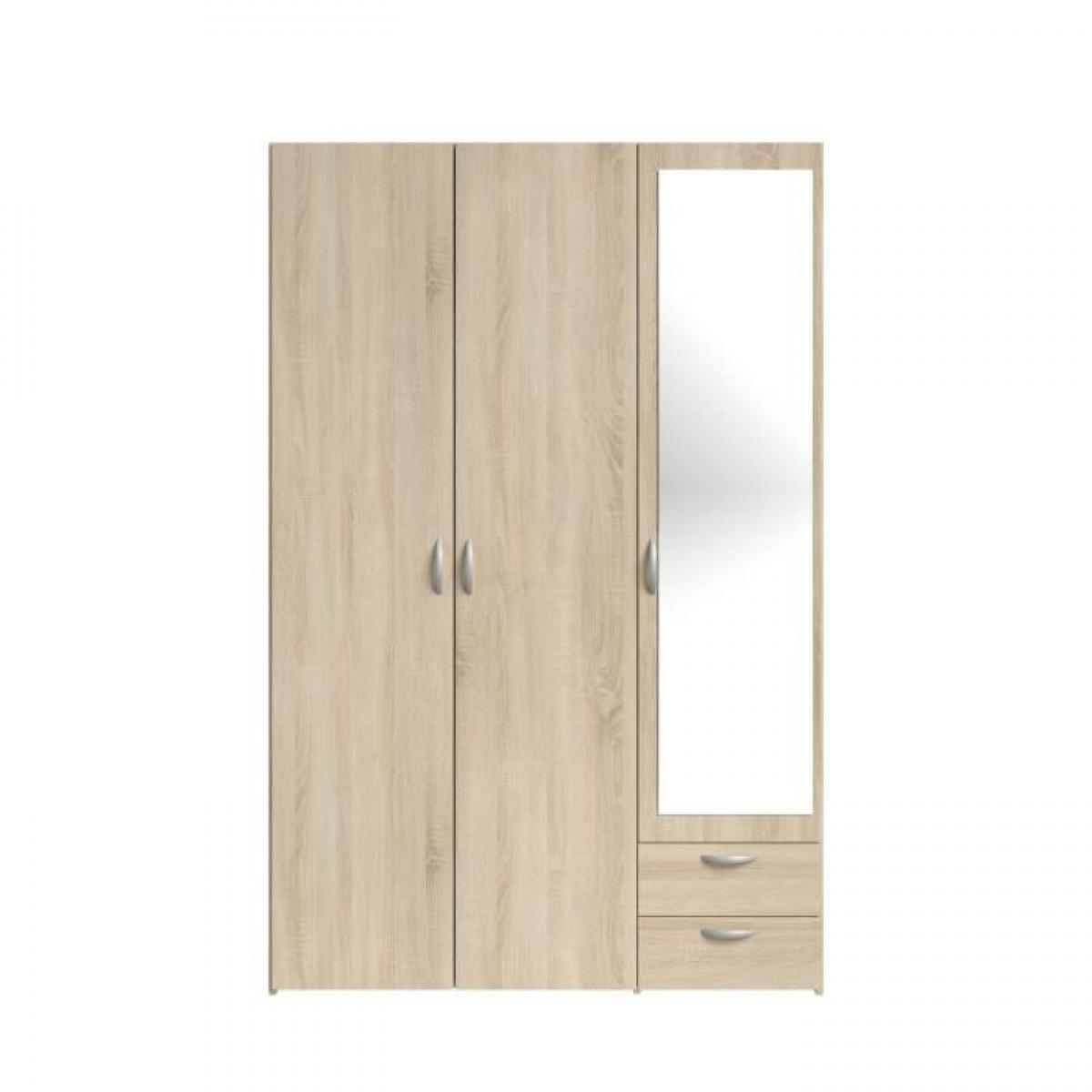 Cstore VARIA Armoire 3 portes miroir décor chene
