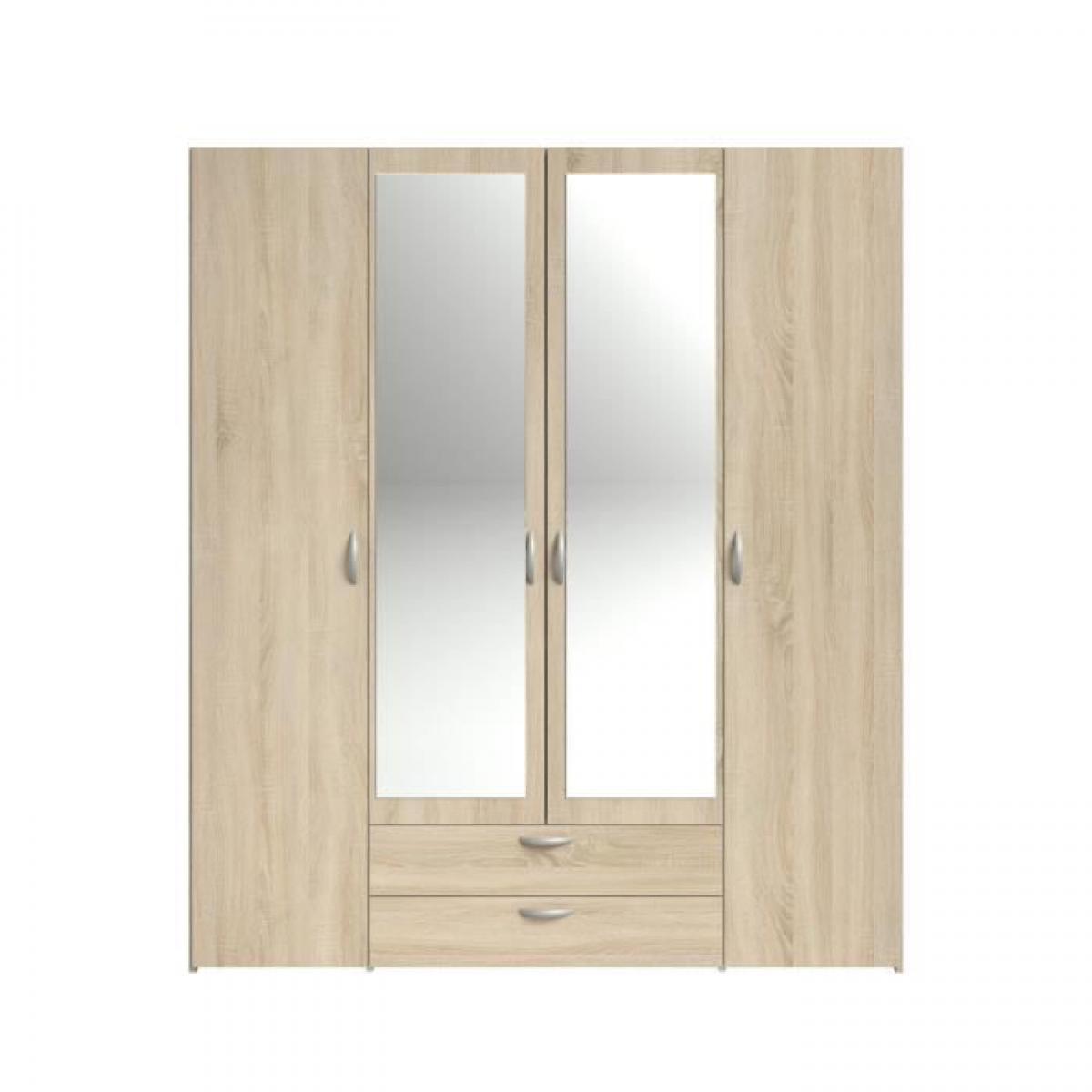 Cstore VARIA Armoire 4 portes miroir décor chene