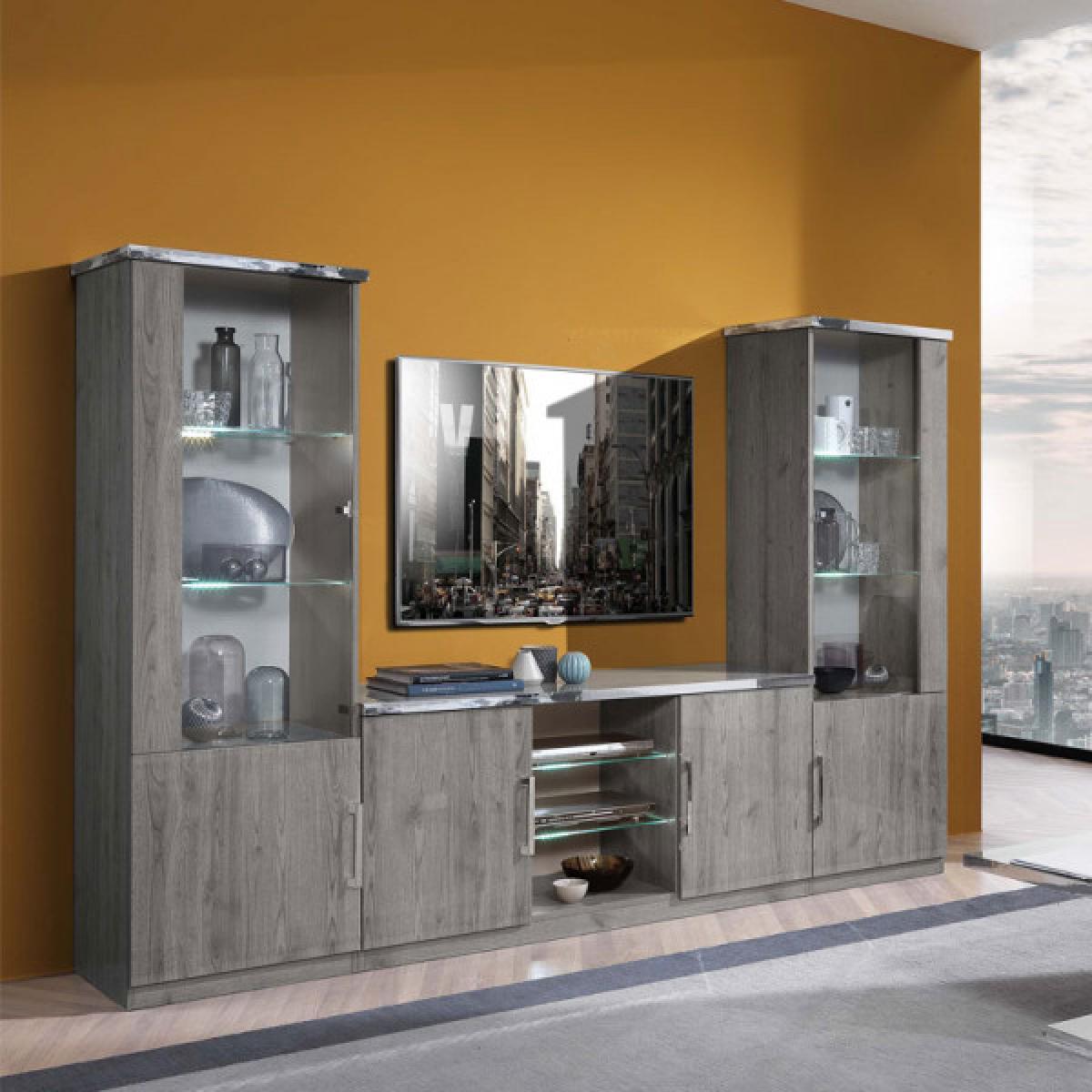 Dansmamaison Composition TV chêne gris à LEDs - DIANA - L 270 x l 47 x H 181 cm