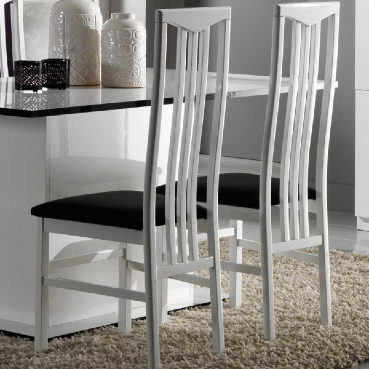 Dansmamaison Duo de chaises Laque Blanc - ZEME - L 46 x l 46 x H 108 cm