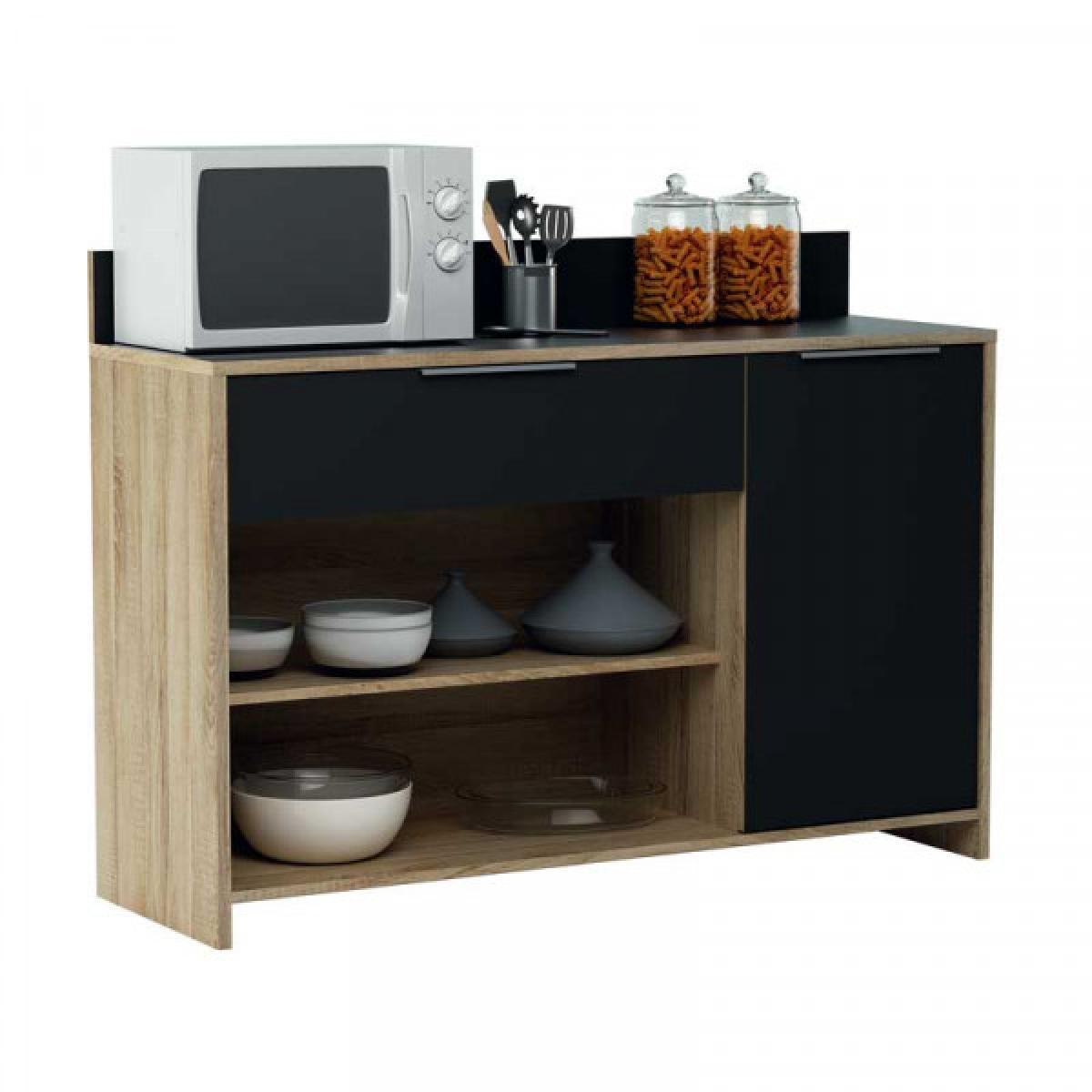 Dansmamaison Meuble bas de cuisine micro-ondes Chêne/Noir - LOL - L 123 x l 40 x H 89.2 cm