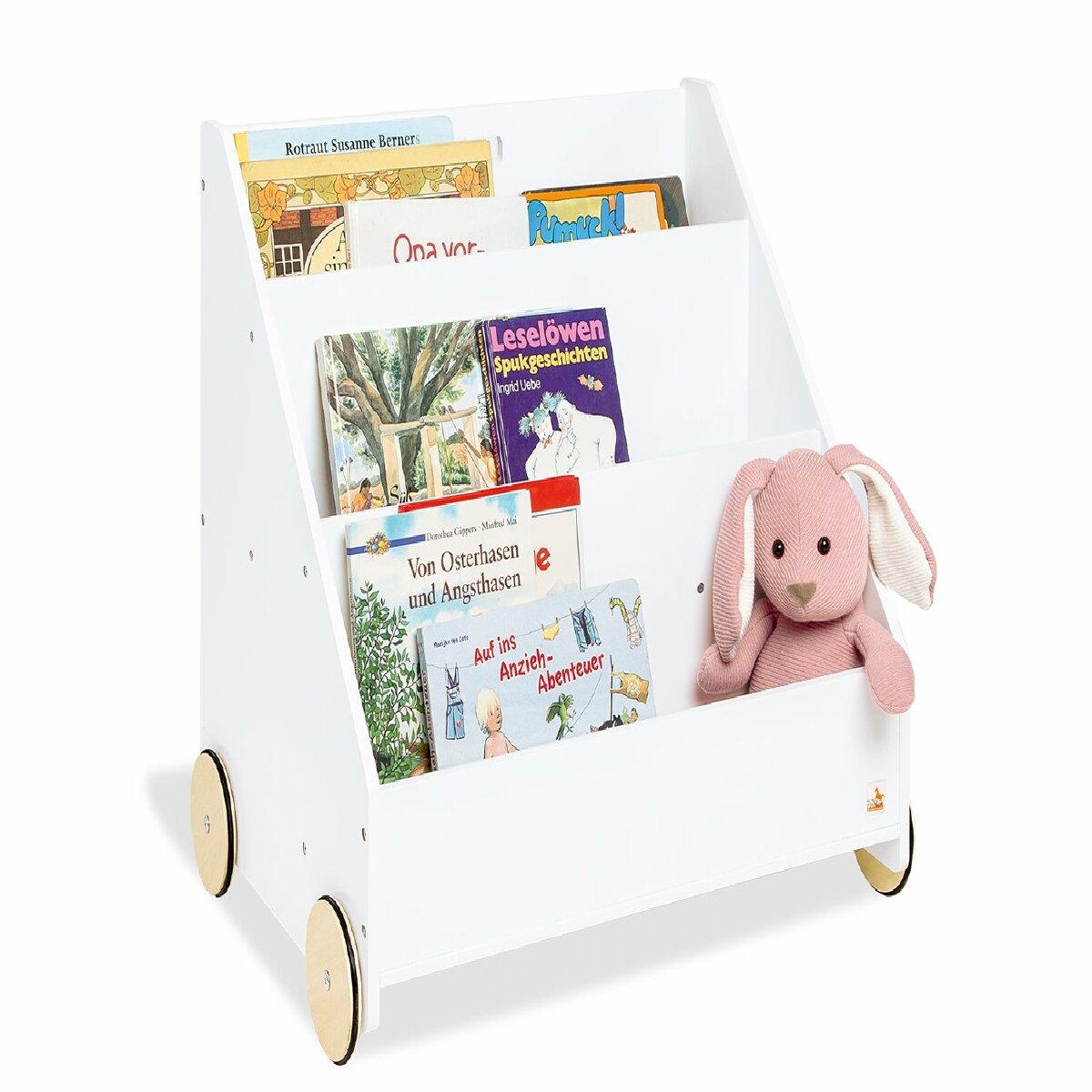 Decoshop26 Bibliothèque roulante pour enfants en MDF laqué blanc 3 casiers de rangement APE07038