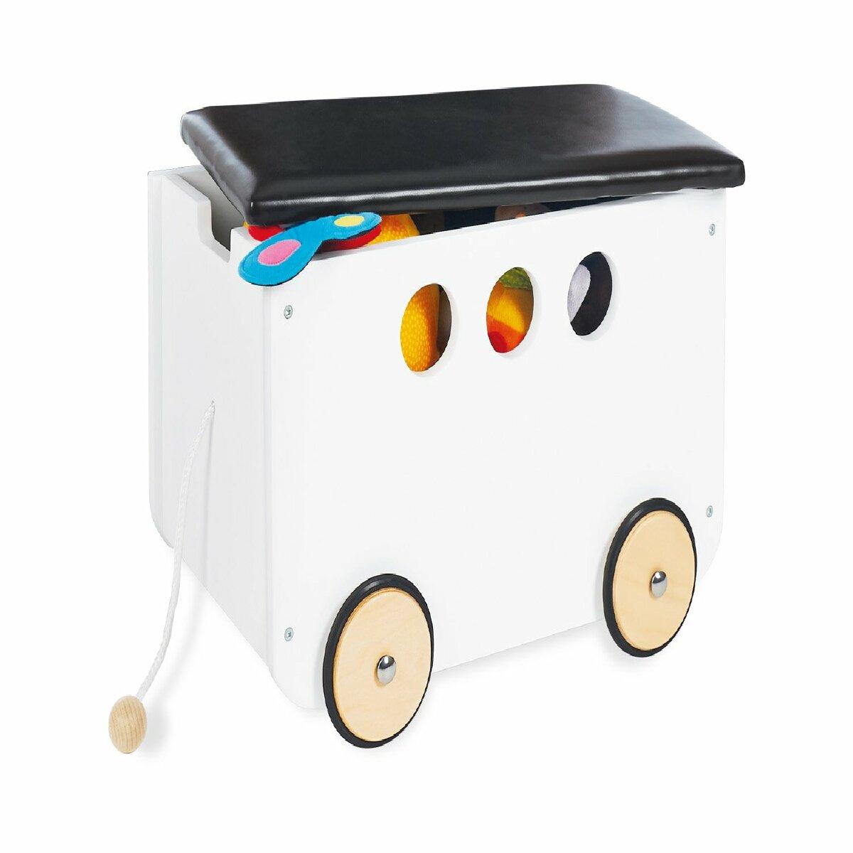 Decoshop26 Coffre à jouet banquette de rangement sur roulettes pour enfant blanc et noir APE07033