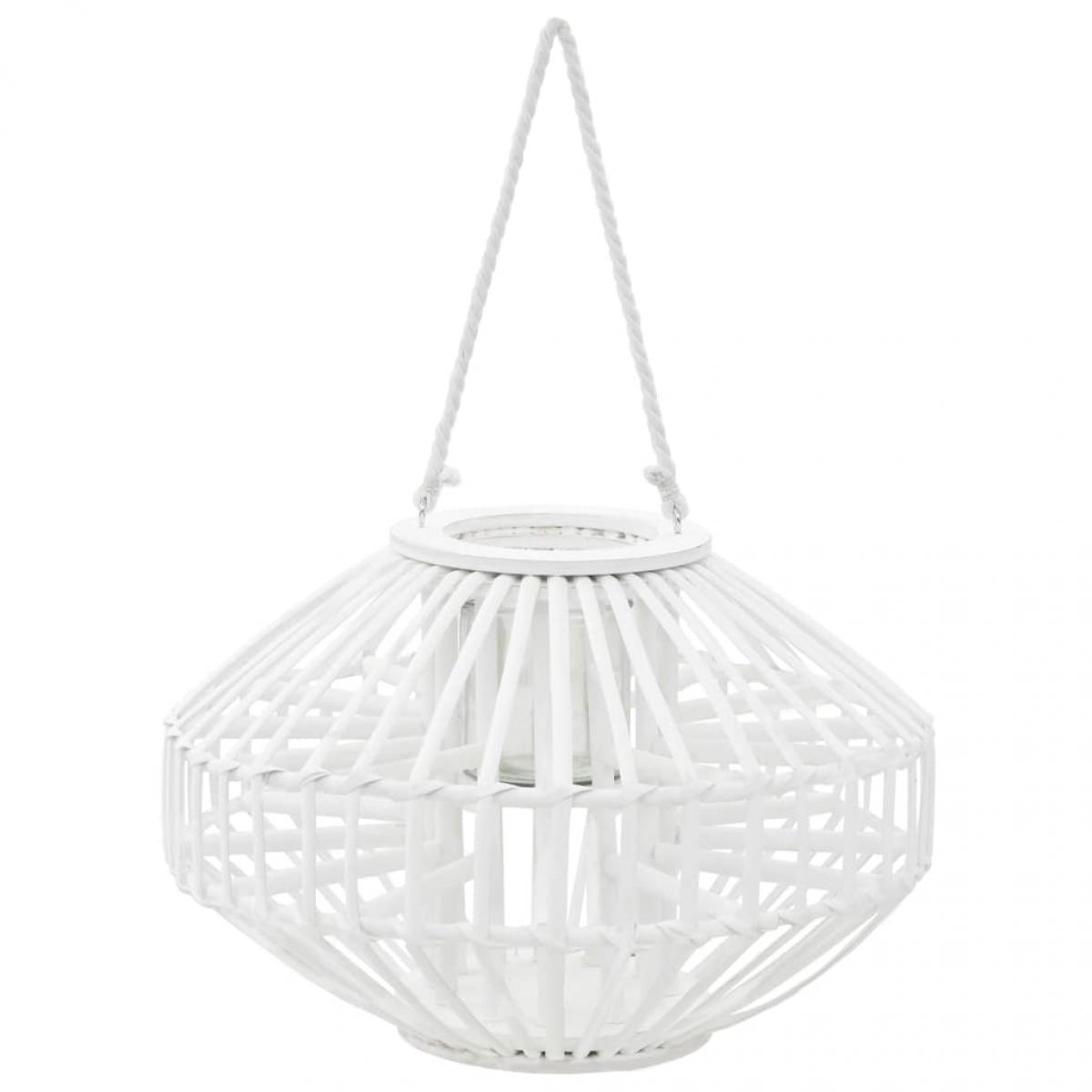 Decoshop26 Bougeoir suspendu ou lanterne sur pied porte-bougie osier blanc décoration extérieur DEC020014