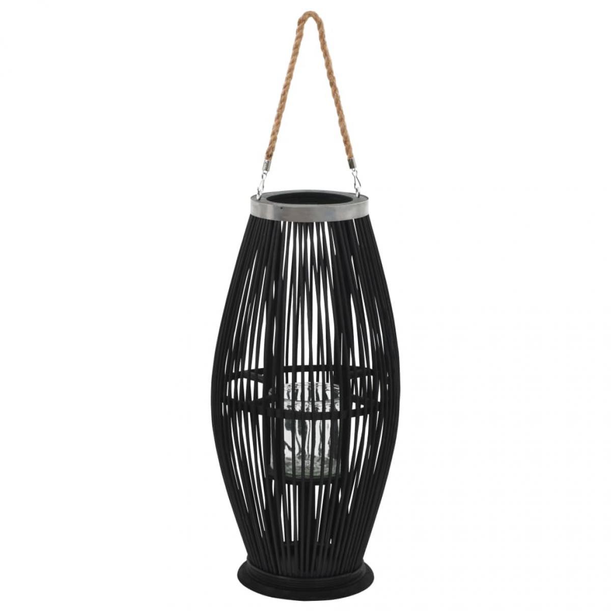 Decoshop26 Bougeoir suspendu ou sur pied porte-bougie bambou noir décoration extérieur hauteur 60cm DEC020007