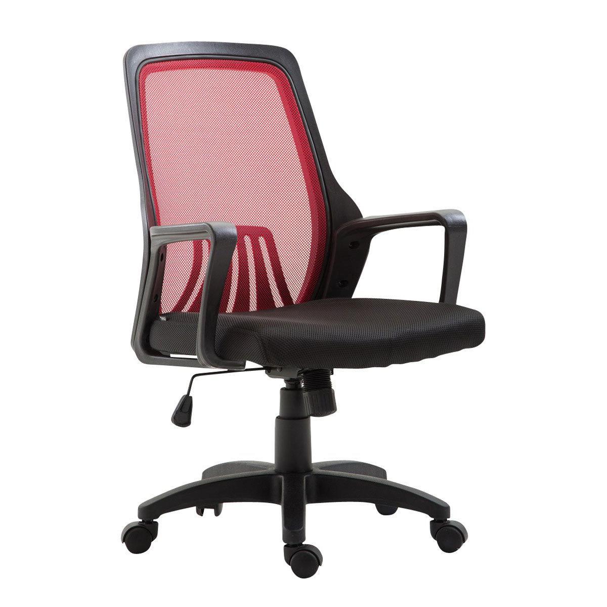 Decoshop26 Chaise de bureau ergonomique réglable pivotant rouge/noir BUR10407