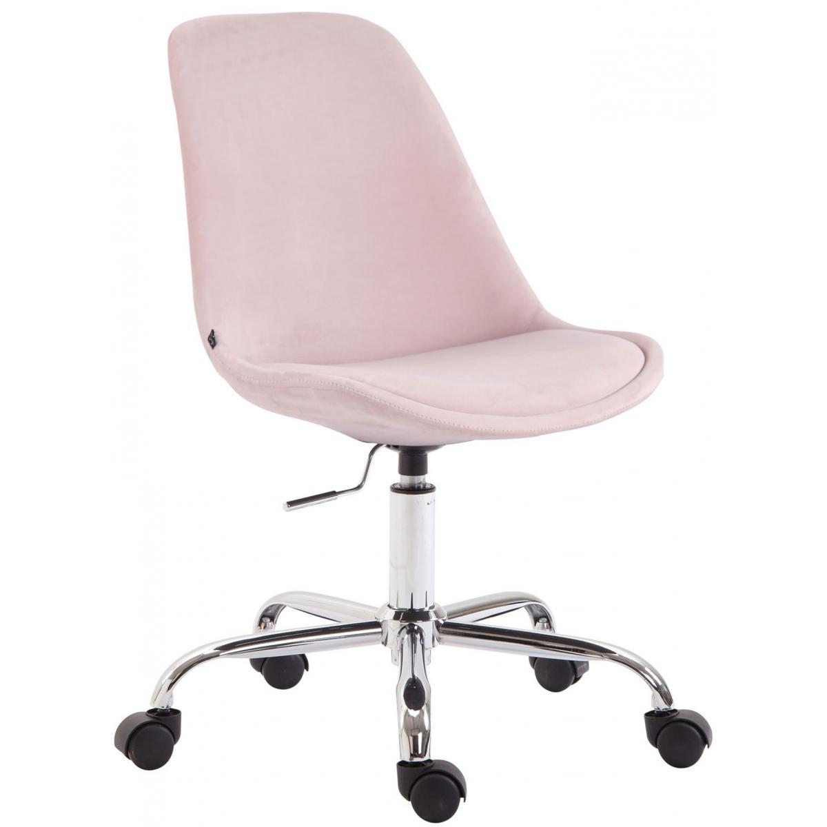 Decoshop26 Chaise de bureau sur roulettes en tissu velours rose BUR10353