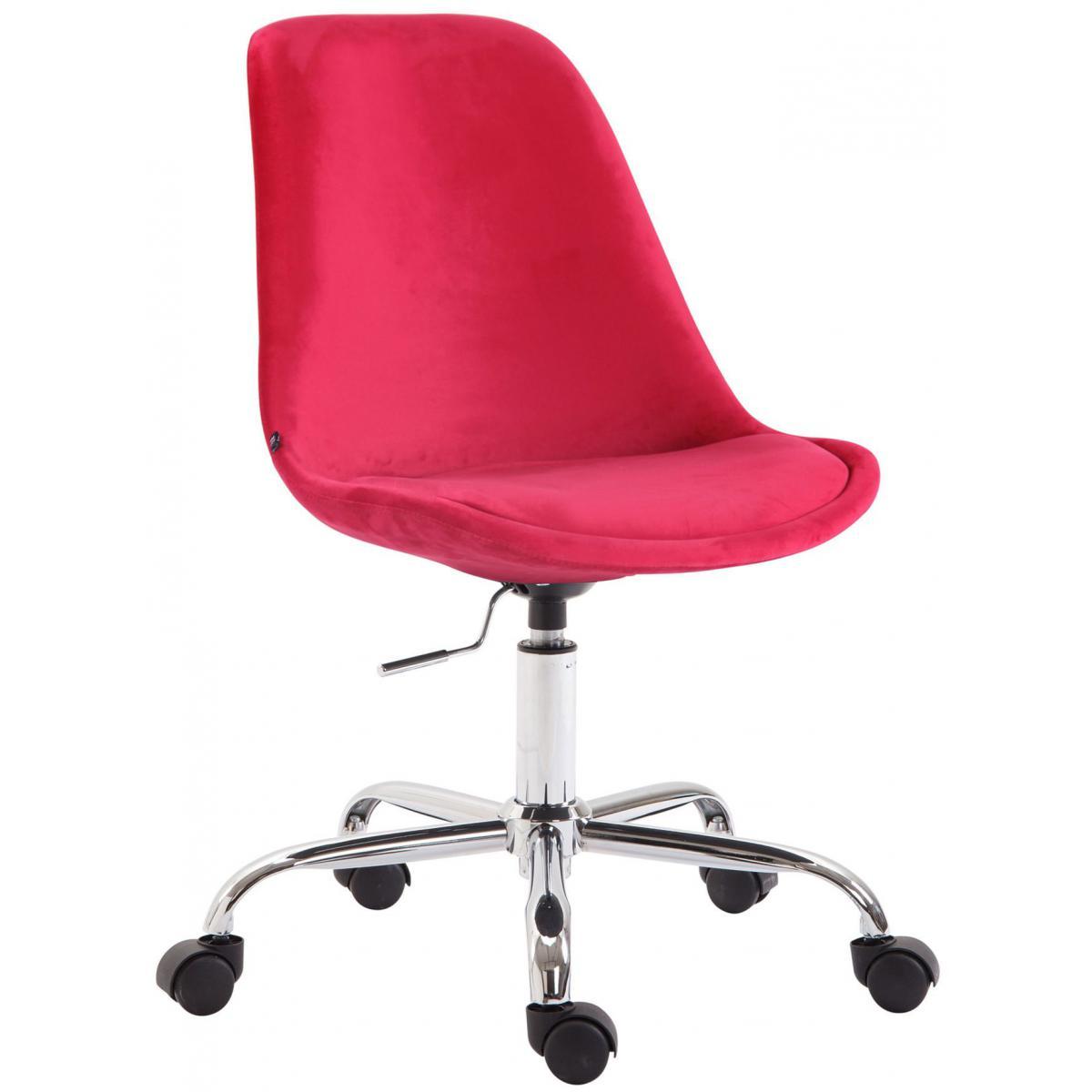 Decoshop26 Chaise de bureau sur roulettes en tissu velours rouge BUR10354