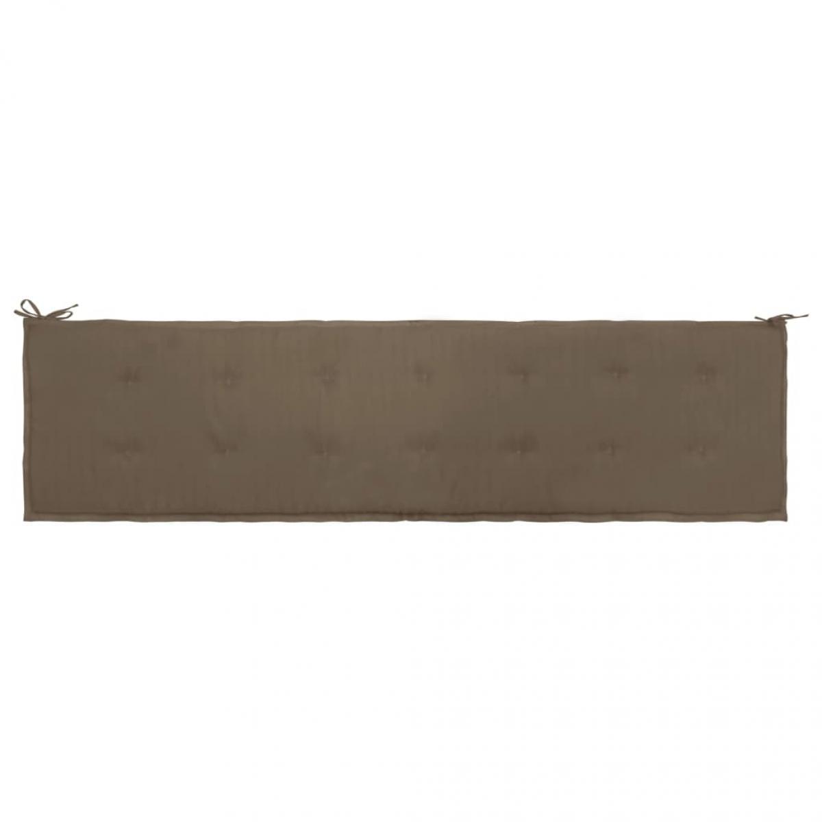 Decoshop26 Coussin de banc de jardin 100 % polyester imperméable taupe 200 x 50 x 3 cm DEC021742