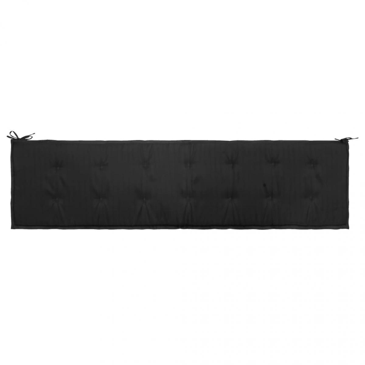 Decoshop26 Coussin de banc de jardin résistant à l'eau 200 x 50 x 3 cm 100 % polyester noir DEC021741
