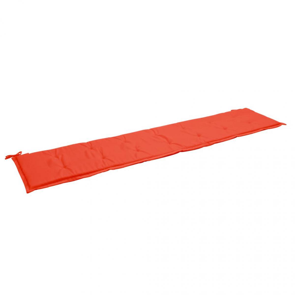 Decoshop26 Coussin de banc de jardin résistant à l'eau 200 x 50 x 3 cm 100 % polyester rouge DEC021738