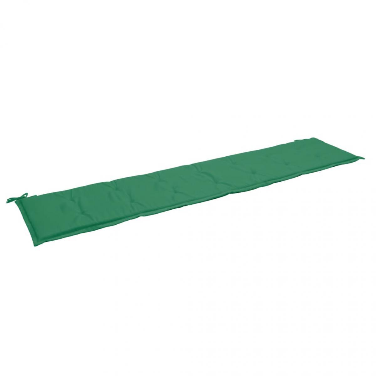 Decoshop26 Coussin de banc de jardin résistant à l'eau 200 x 50 x 3 cm 100 % polyester vert DEC021736