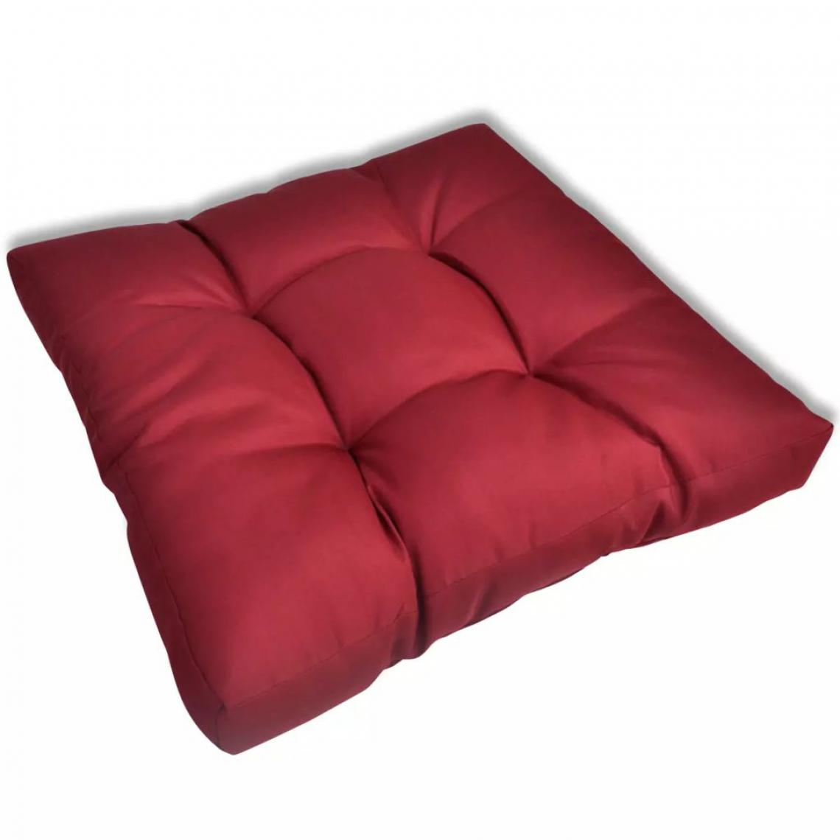 Decoshop26 Coussin de chaise intérieur ou extérieur 60x60x10 cm rouge bordeaux DEC021352