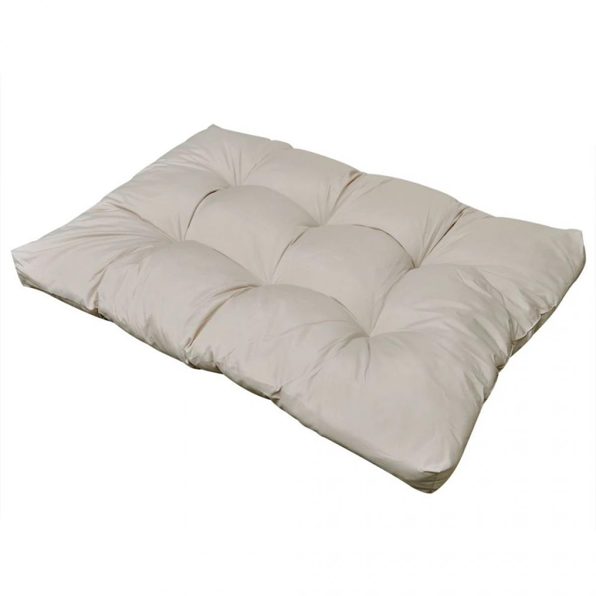 Decoshop26 Coussin de chaise pour intérieur ou extérieur rembourré blanc sable 120x80x10 cm DEC021364