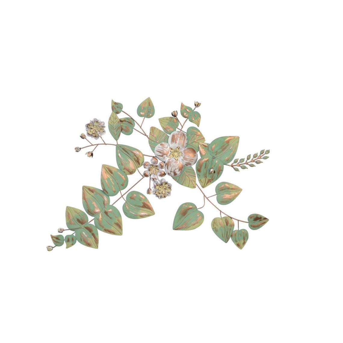 Decoshop26 Décoration murale fleurs et feuilles en métal vert crème-or blanc 70x4x69 cm DEC05056
