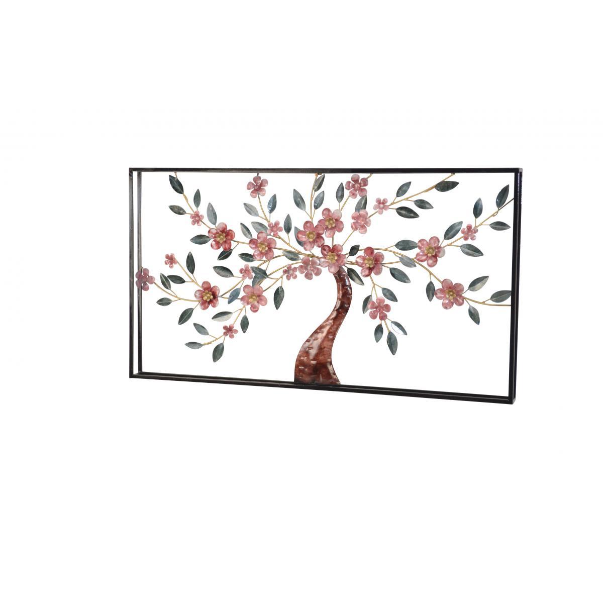 Decoshop26 Décoration murale motif cerisier à fleurs en métal vert et or 91x6x50 cm DEC05073