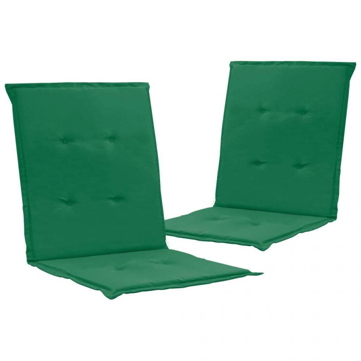 Decoshop26 lot de 2 coussins de chaise de jardin 100% polyester imperméable vert 100 x 50 x 3 cm DEC021684