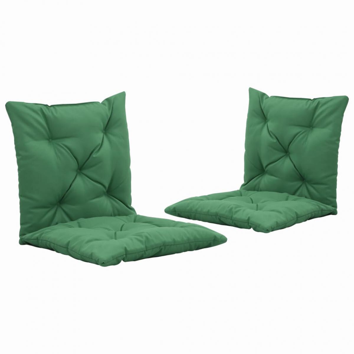 Decoshop26 lot de 2 coussins de chaise de jardin 100% polyester imperméable vert 50 cm DEC021761