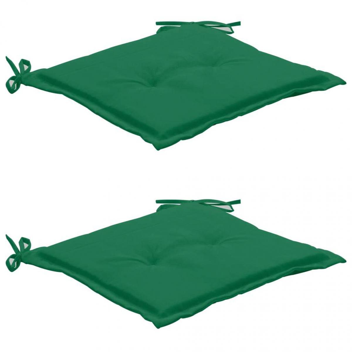 Decoshop26 lot de 2 coussins de chaise de jardin 100% polyester imperméable vert 50x50x3 cm DEC021726