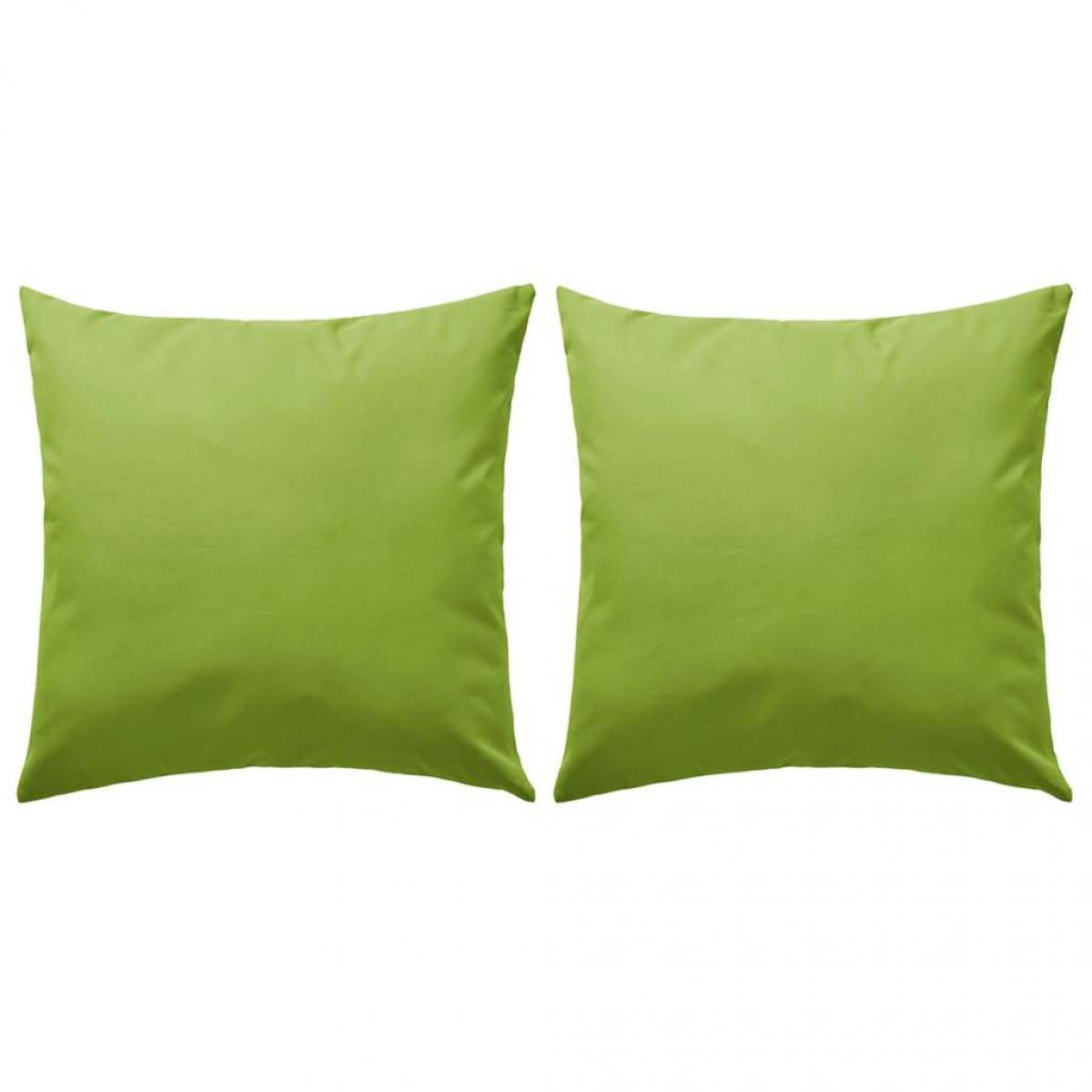 Decoshop26 lot de 2 coussins de jardin 100% polyester 60 x 60 cm vert pomme DEC021213