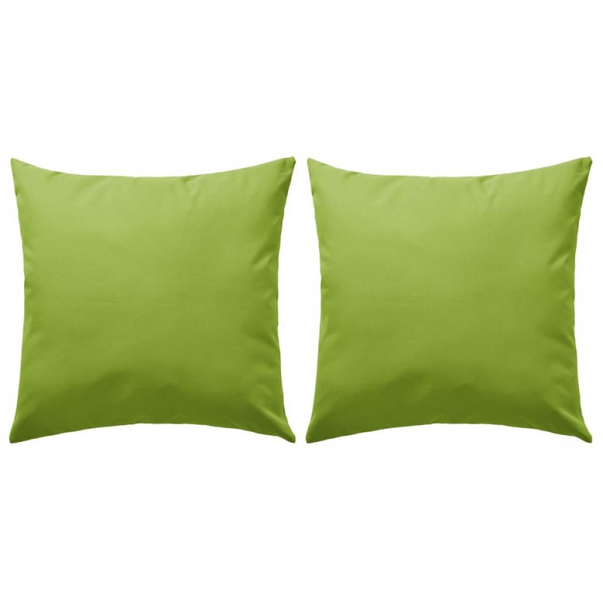 Decoshop26 Lot de 2 coussins oreiller pour extérieur décoration jardin 45 x 45 cm vert pomme DEC020090