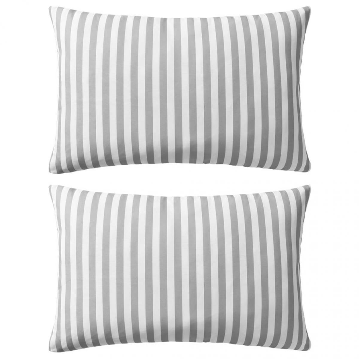 Decoshop26 Lot de 2 coussins oreiller pour extérieur décoration jardin 60 x 40 cm rayure gris DEC020111