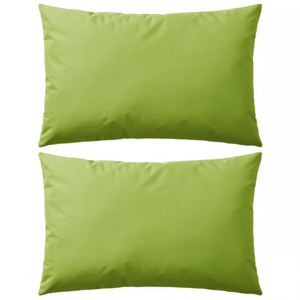 Decoshop26 Lot de 2 coussins oreiller pour extérieur décoration jardin 60 x 40 cm vert pomme DEC020092