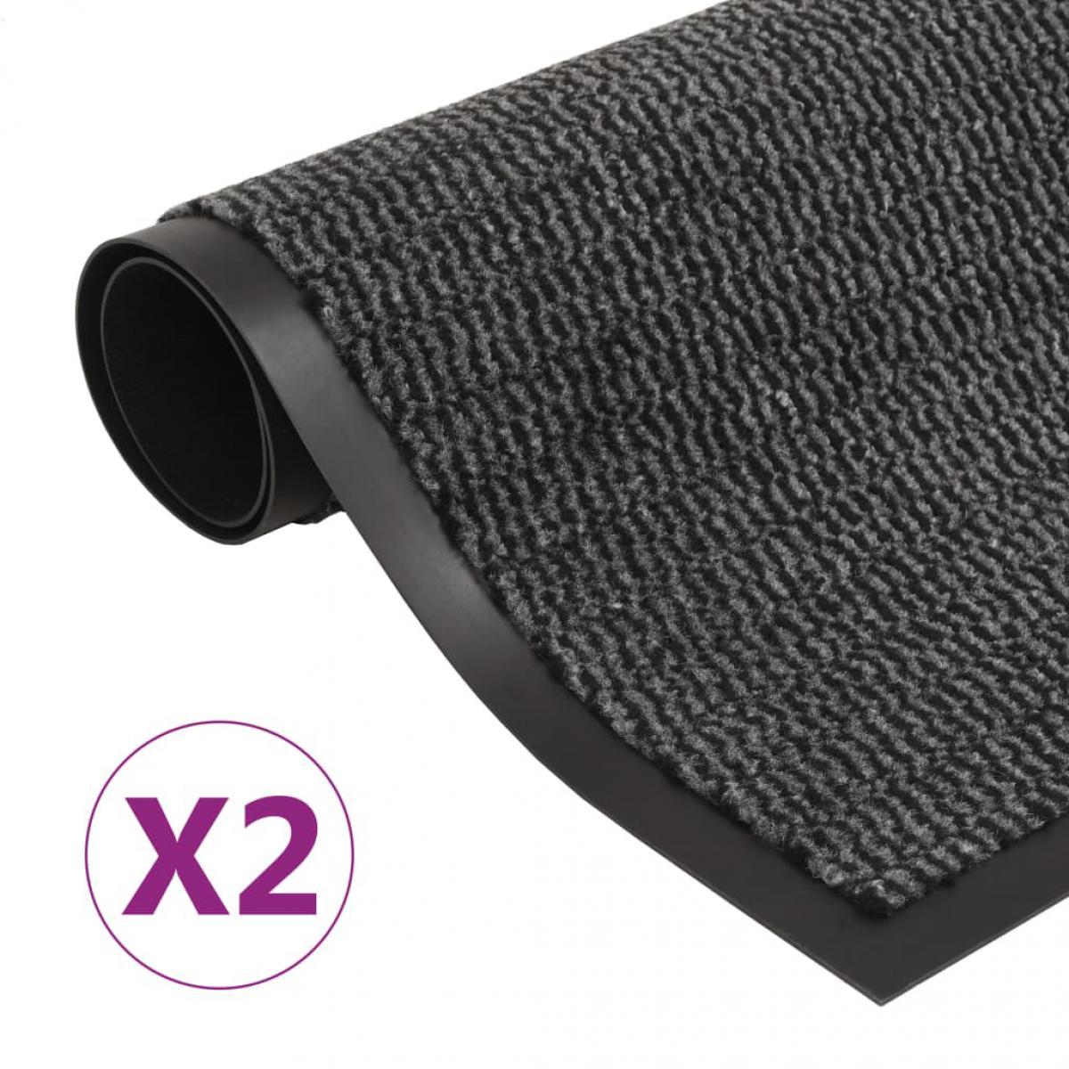 Decoshop26 Lot de 2 paillassons rectangulaires 60 x 90 cm Anthracite DEC023157
