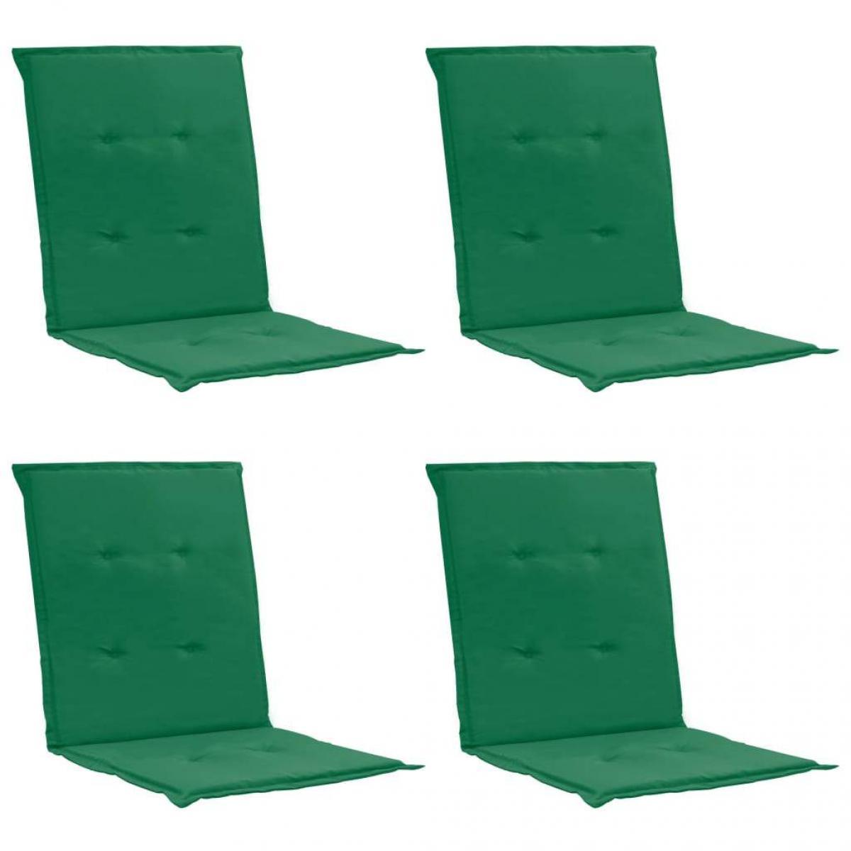 Decoshop26 lot de 4 coussins de chaise de jardin 100% polyester imperméable vert 100 x 50 x 3 cm DEC021685