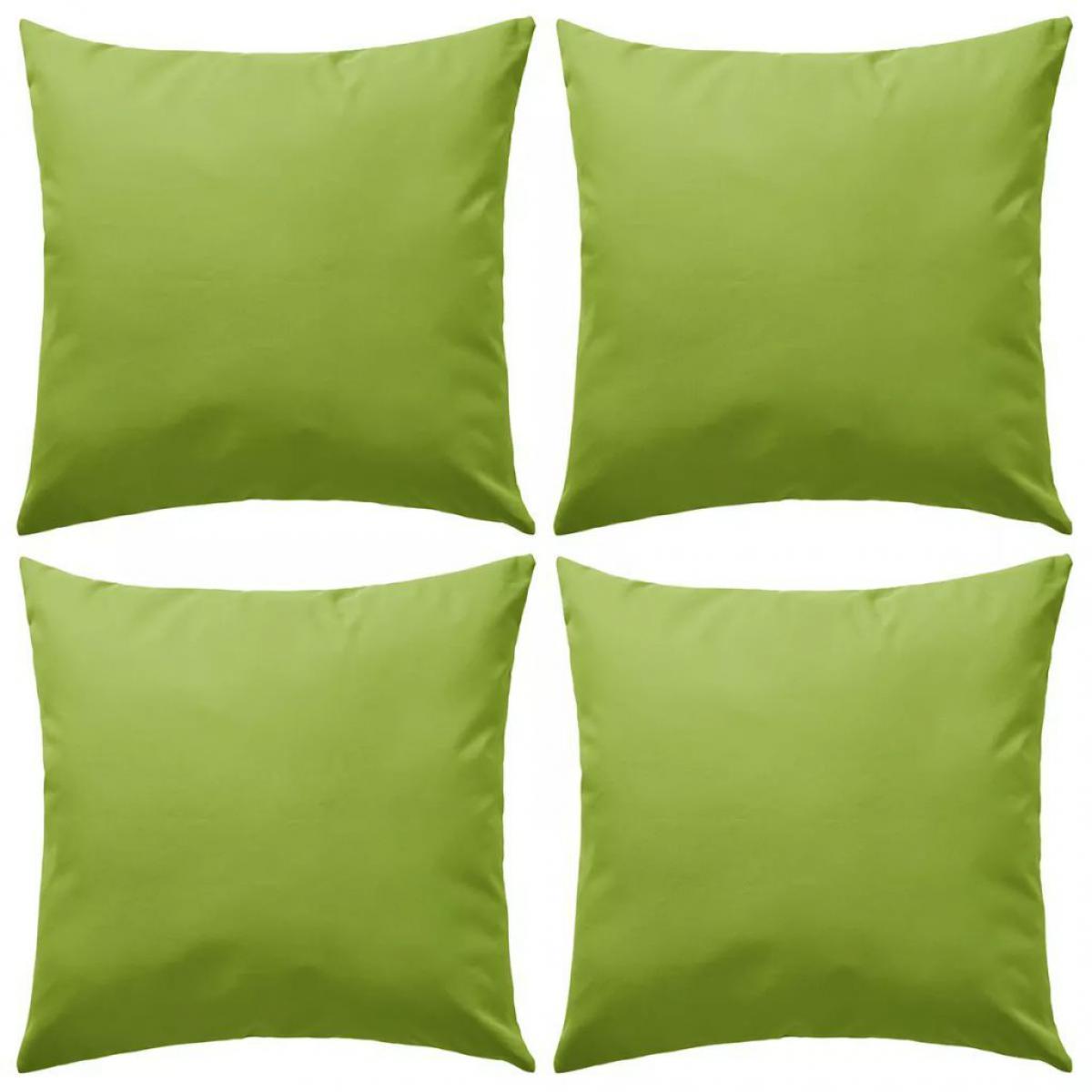 Decoshop26 Lot de 4 coussins oreiller pour extérieur décoration jardin 45 x 45 cm vert pomme DEC020091