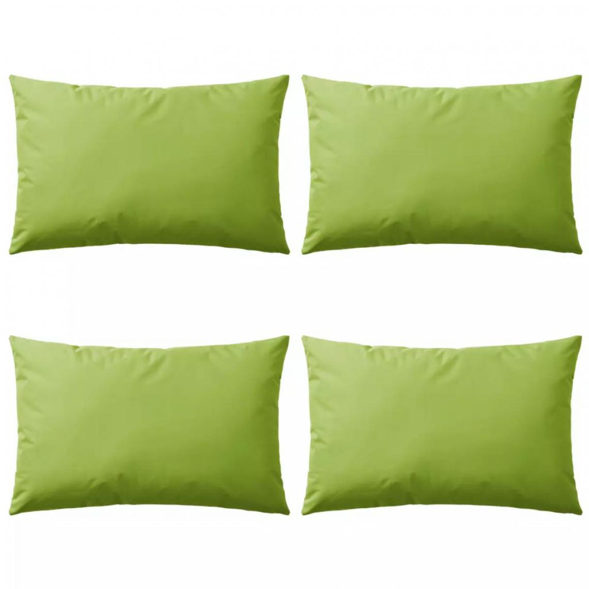 Decoshop26 Lot de 4 coussins oreiller pour extérieur décoration jardin 60 x 40 cm vert pomme DEC020093