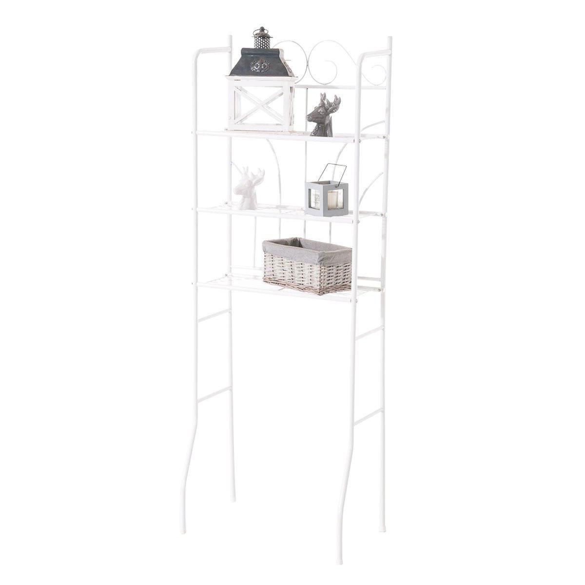 Decoshop26 Meuble étagère pour dessus WC en fer blanc stockage et rangement WC et salle de bain ETA10099
