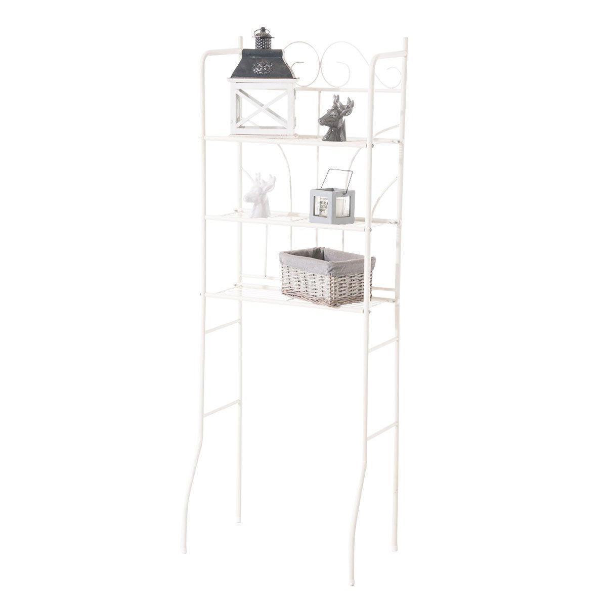 Decoshop26 Meuble étagère pour dessus WC en fer crème stockage et rangement WC et salle de bain ETA10100