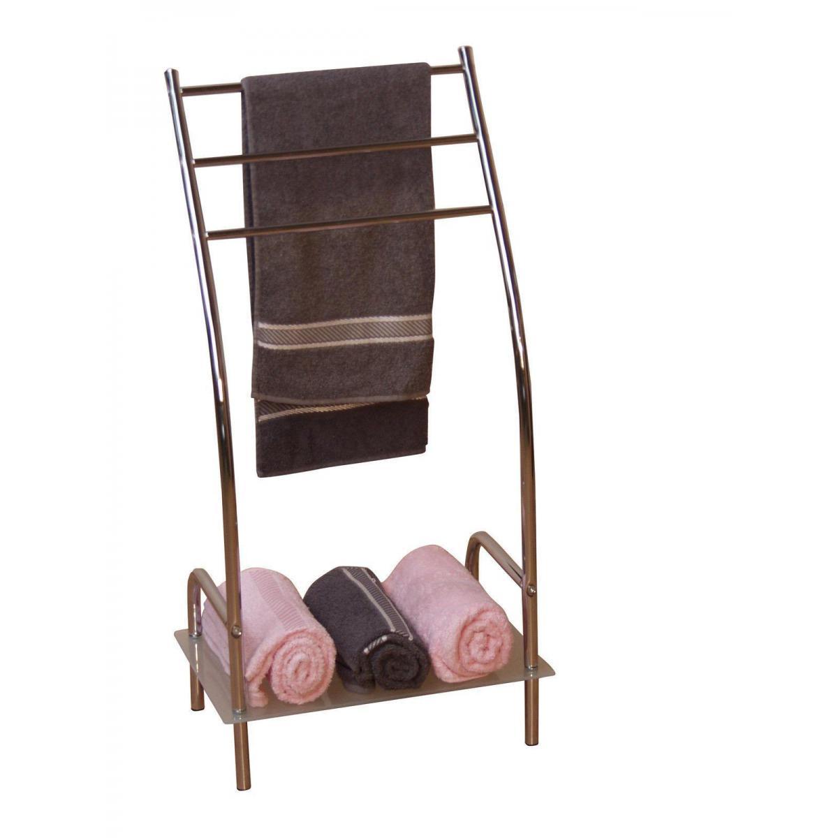 Decoshop26 Porte-serviettes rangement salle de bain étagère en acier chromé SDB05001