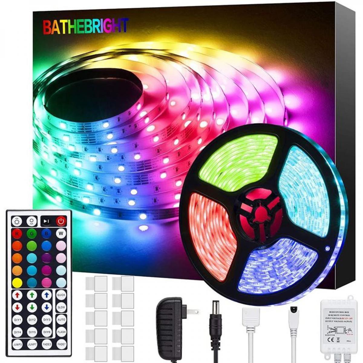 Deoditoo Guirlande Etanche à Eclairage LED 10 Mètres avec 300 LEDs 5050 RGB Colorées et Contrôleur Bluetooth - RR-FL-C5050RGB-12-