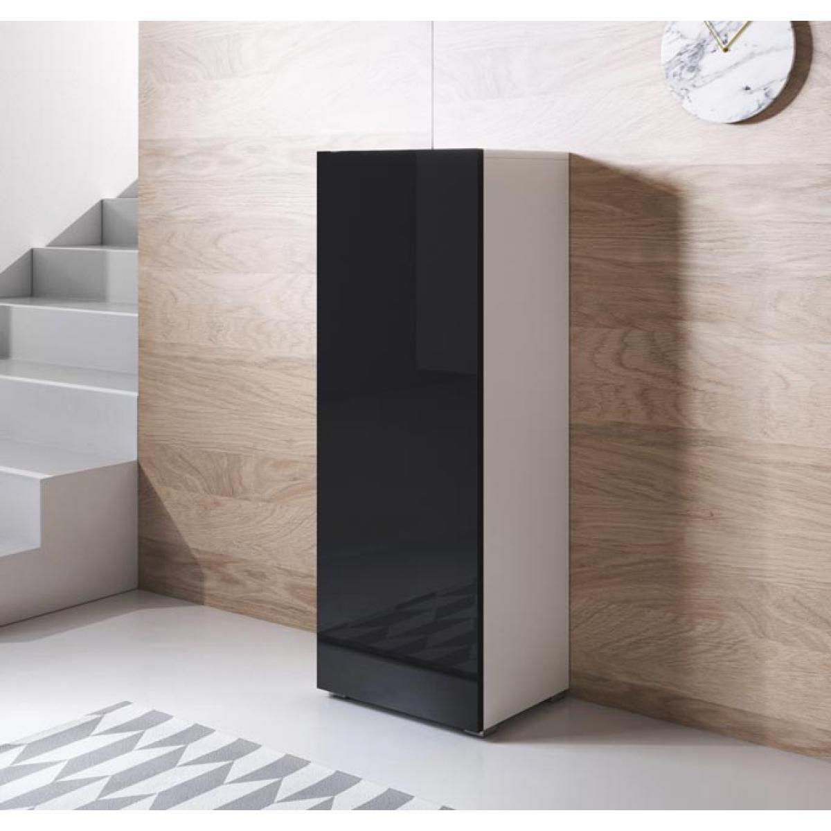 Design Ameublement Armoire modèle Luke V1 (40x128cm) couleur blanc et noir avec pieds standard