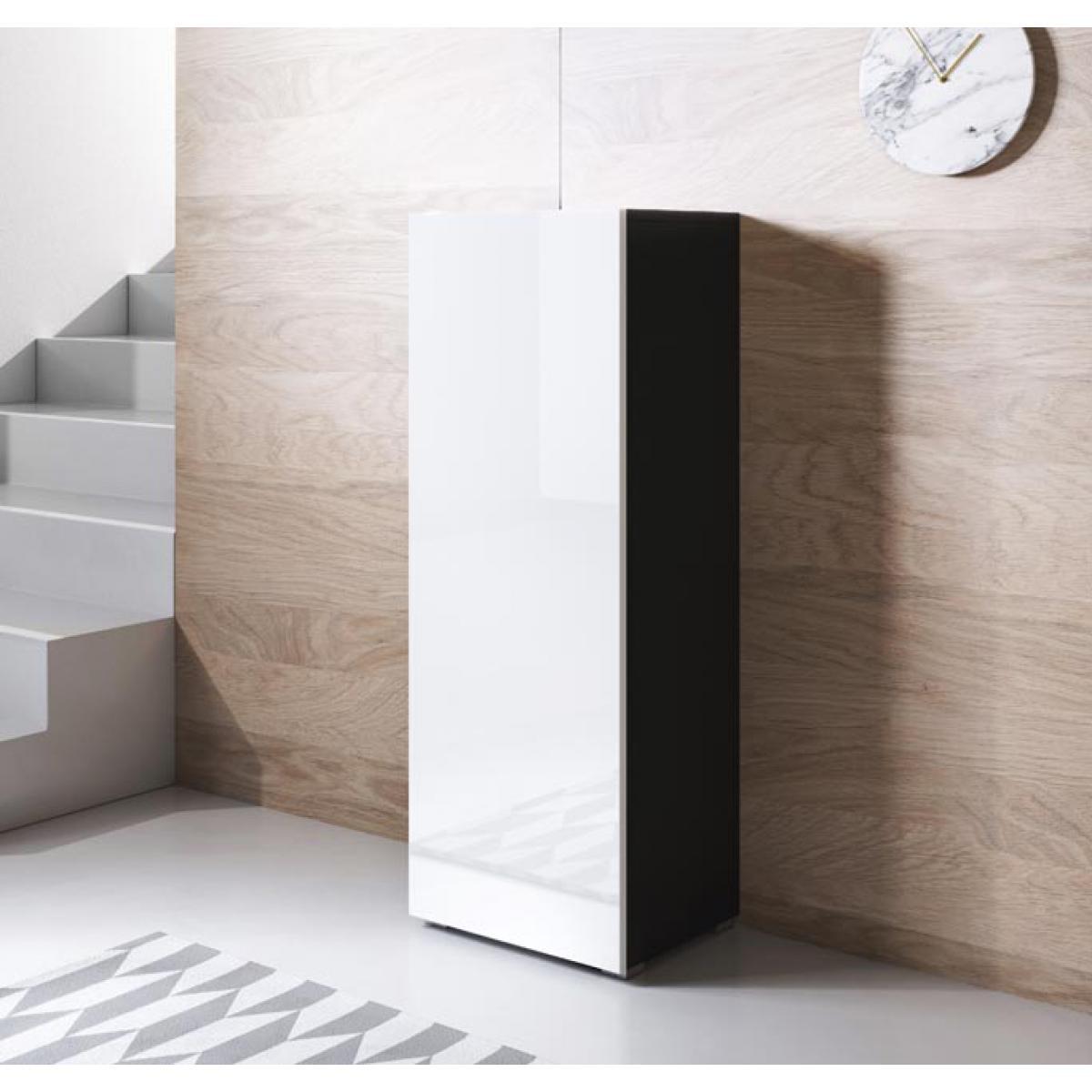 Design Ameublement Armoire modèle Luke V1 (40x128cm) couleur noir et blanc avec pieds standard