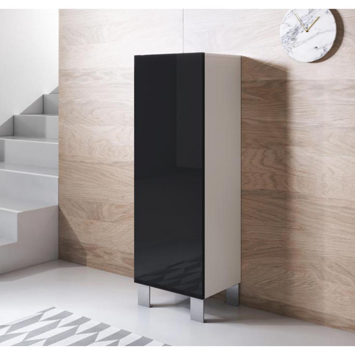 Design Ameublement Armoire modèle Luke V1 (40x138cm) couleur blanc et noir avec pieds en aluminium