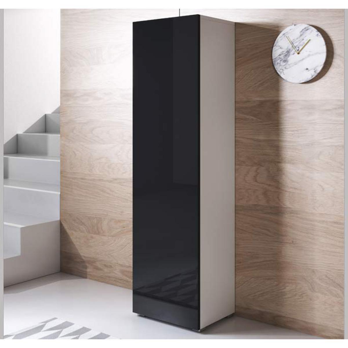 Design Ameublement Armoire modèle Luke V4 (40x167cm) couleur blanc et noir avec pieds standard