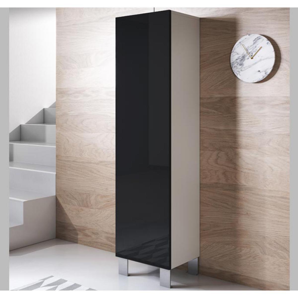 Design Ameublement Armoire modèle Luke V4 (40x177cm) couleur blanc et noir avec pieds en aluminium