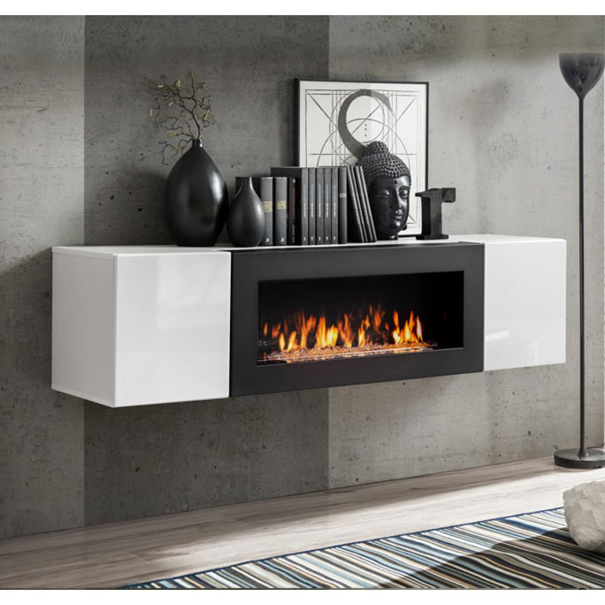 Design Ameublement Armoire mural avec cheminée modèle Erica lumbre (160x40cm) blanc