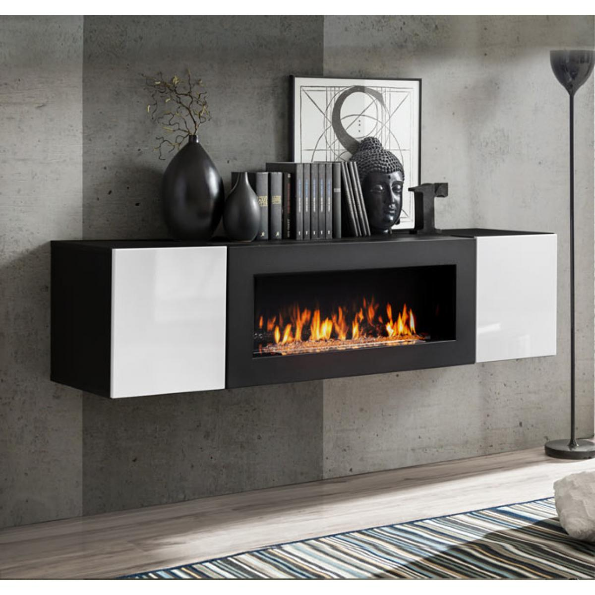 Design Ameublement Armoire mural avec cheminée modèle Erica lumbre (160x40cm) noir et blanc