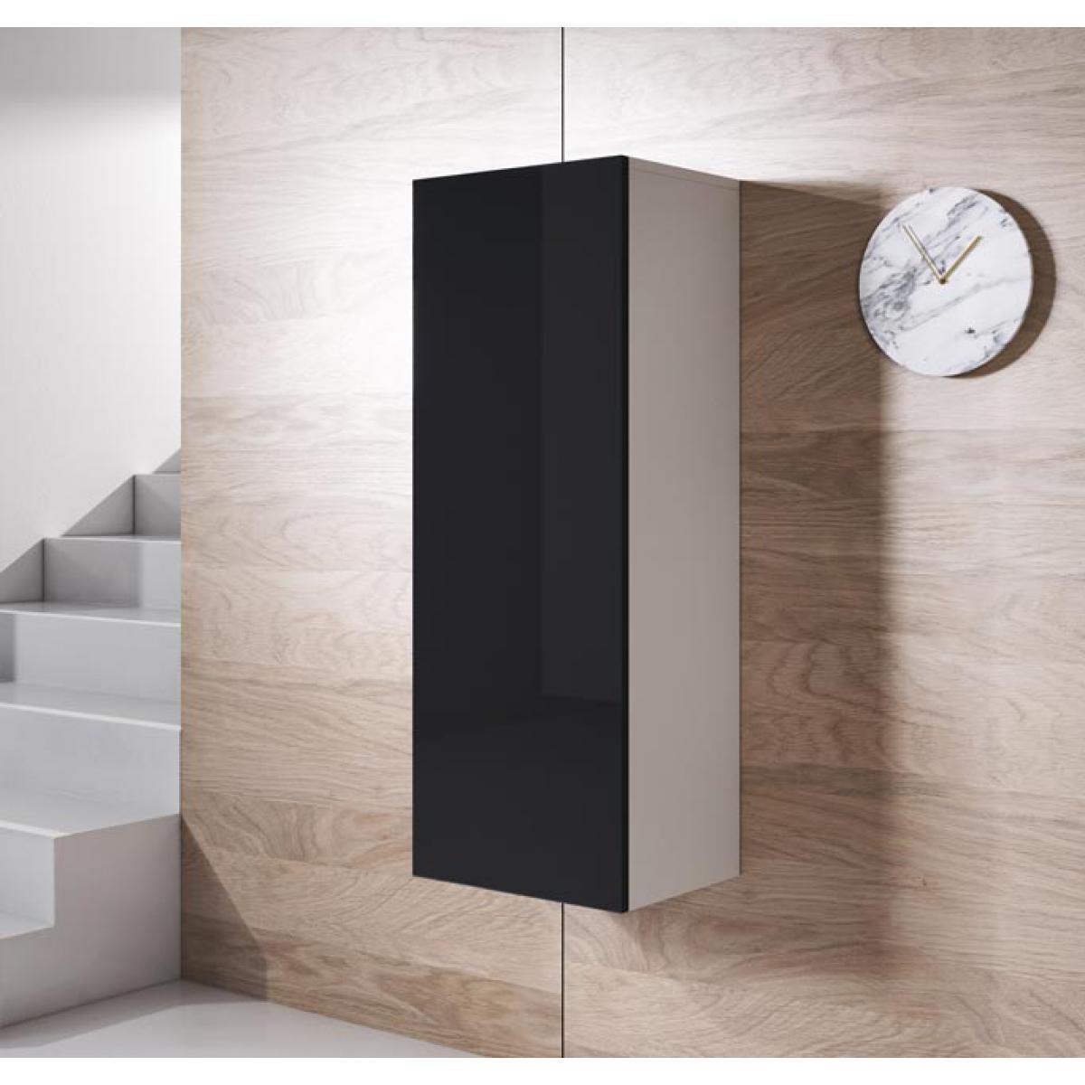 Design Ameublement Armoire mural modèle Luke V1 (40x126cm) couleur blanc et noir
