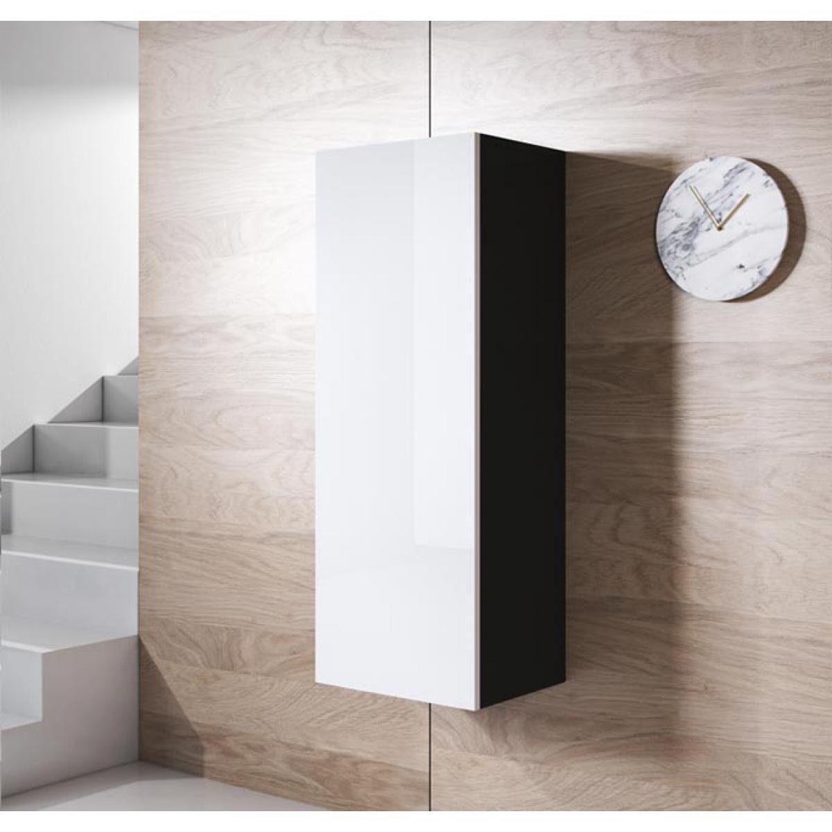 Design Ameublement Armoire mural modèle Luke V1 (40x126cm) couleur noir et blanc