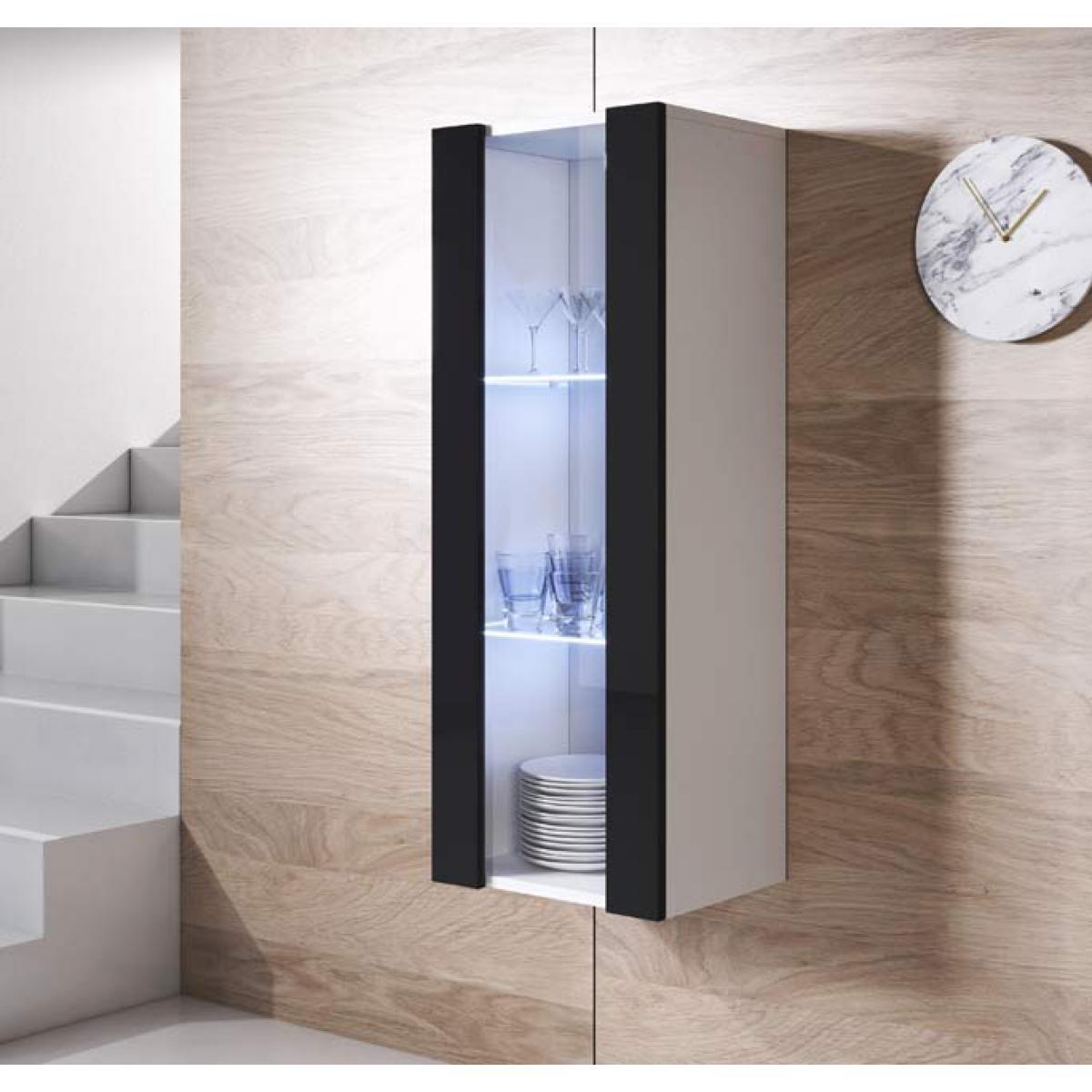 Design Ameublement Armoire mural modèle Luke V2 (40x126cm) couleur blanc et noir