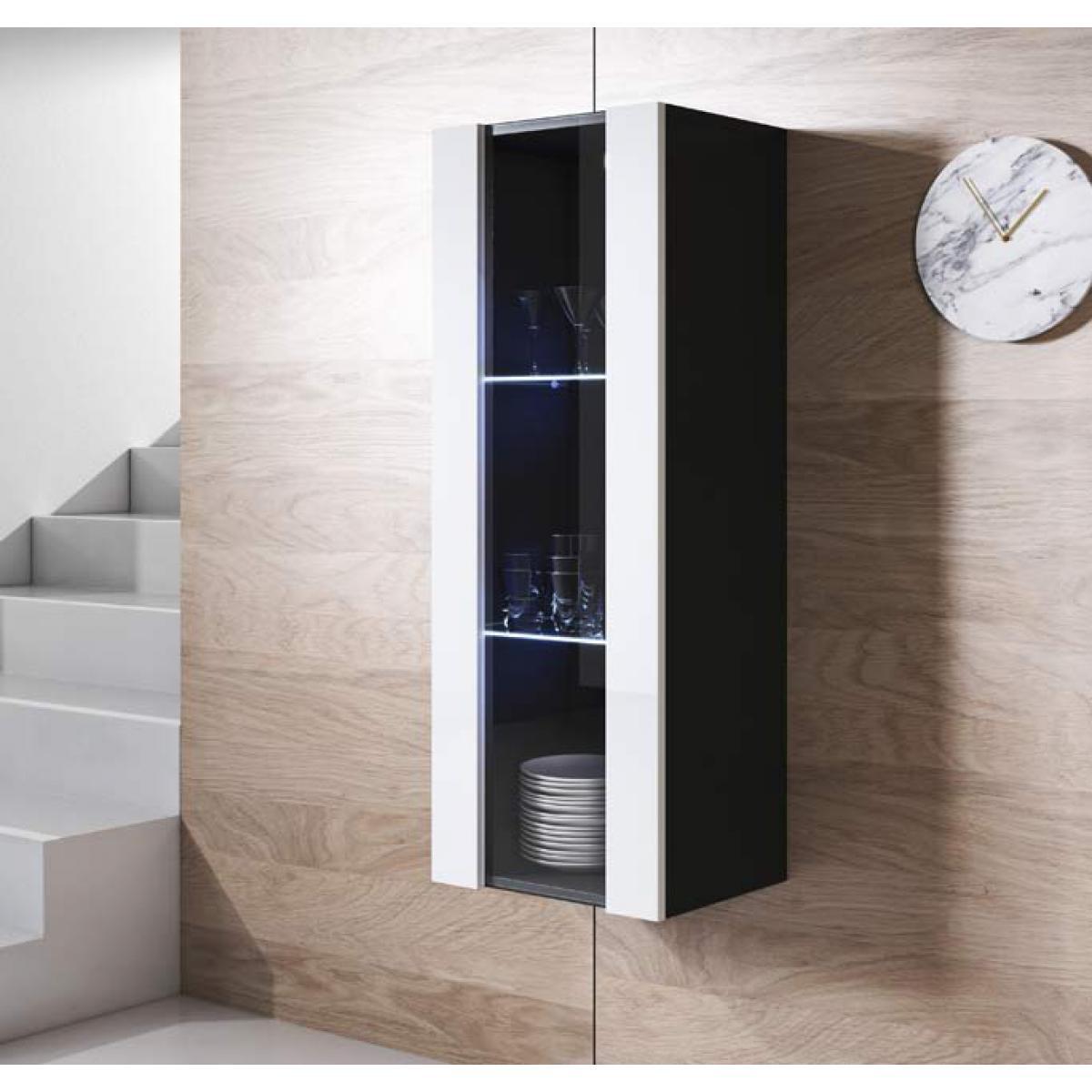 Design Ameublement Armoire mural modèle Luke V2 (40x126cm) couleur noir et blanc