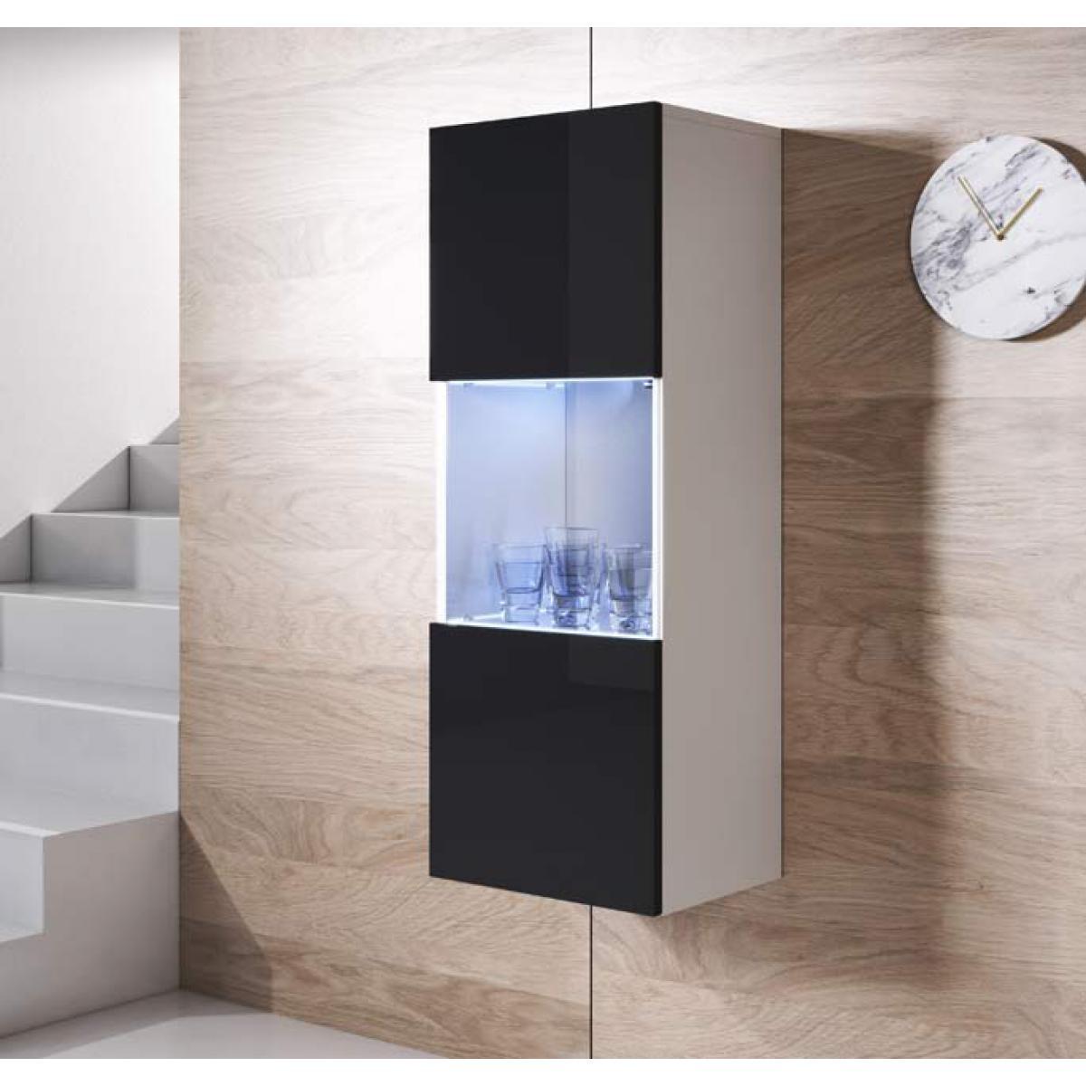 Design Ameublement Armoire mural modèle Luke V3 (40x126cm) couleur blanc et noir