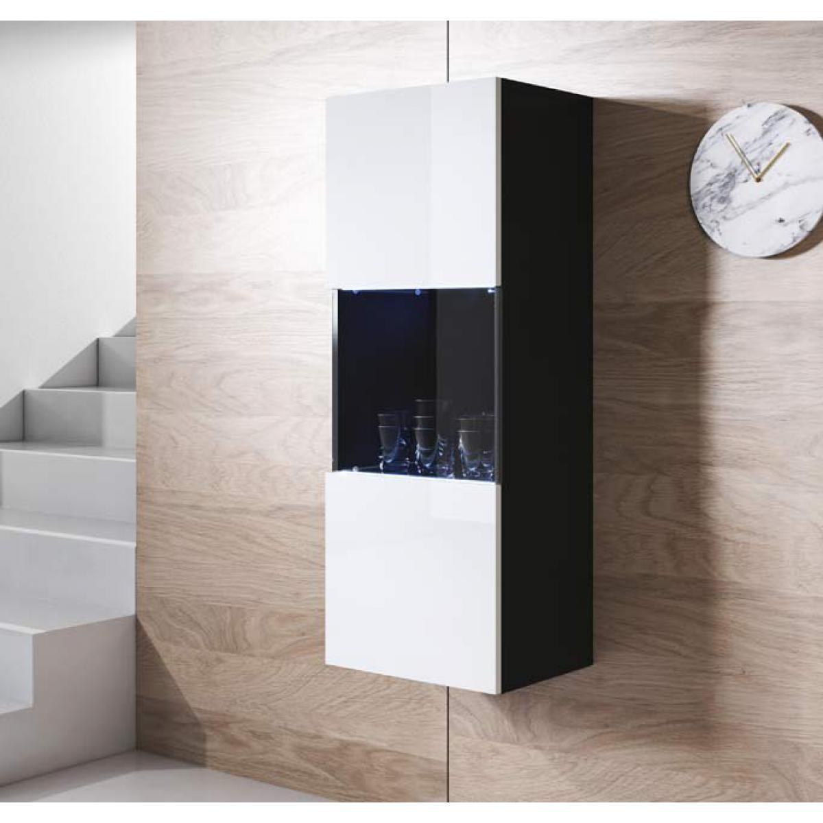 Design Ameublement Armoire mural modèle Luke V3 (40x126cm) couleur noir et blanc