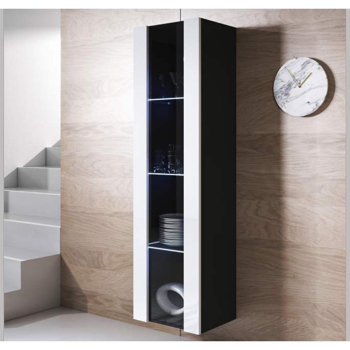 Design Ameublement Armoire mural modèle Luke V5 (40x165cm) couleur noir et blanc