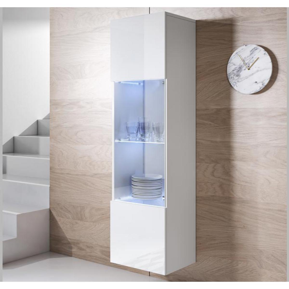 Design Ameublement Armoire mural modèle Luke V6 (40x165cm) couleur blanc
